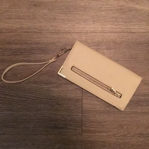 Beige Clutch W/ Gold Accent